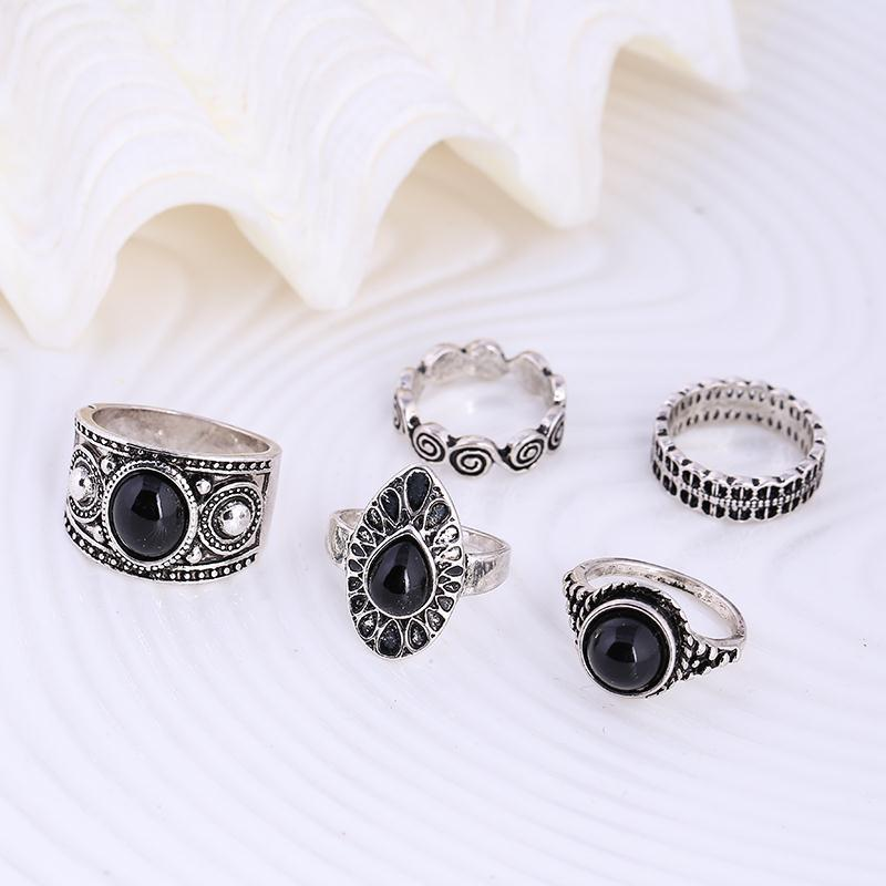 Gypsy Style Black Stone & Silver Midi Ring & Ring Set