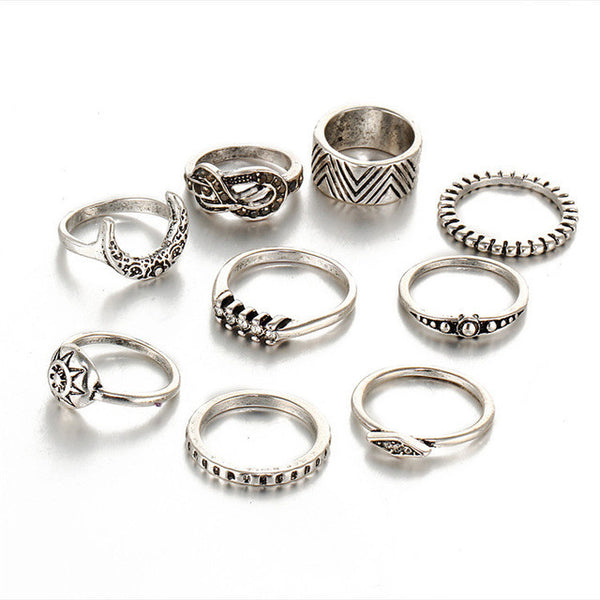 9 Piece Bohemian Hippie Midi Ring & Ring Set