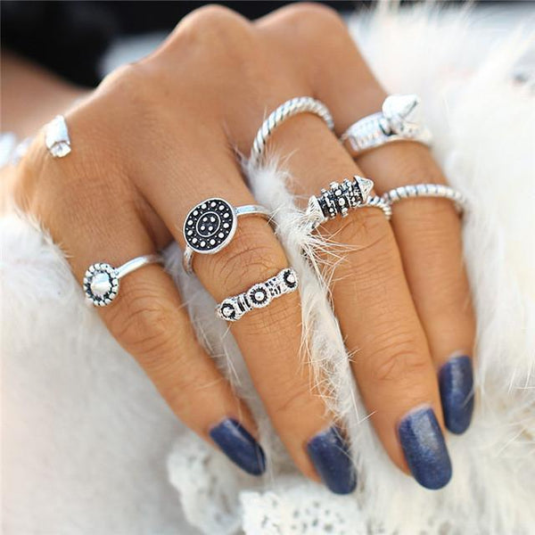 Vintage Steampunk Midi Ring & Ring Set - 8 Pieces Included
