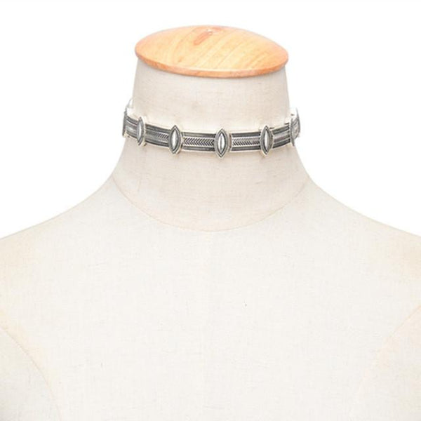 Eyelet Tribal Silver Collar-Style Choker Necklace