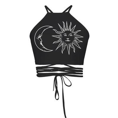Gypsy Festival Sun & Moon Crop Top in Black