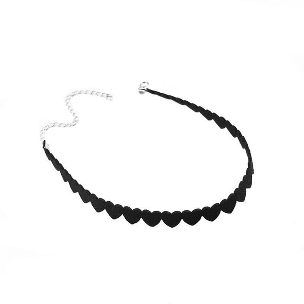 Queen Of Hearts Black Tattoo-Style Choker Necklace
