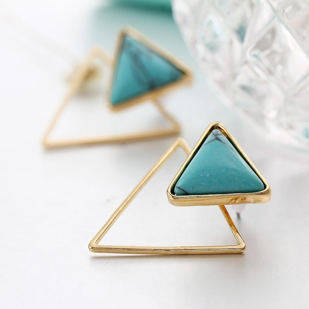 Bohemian Triangle Stone Stud Earrings in Gold or Silver
