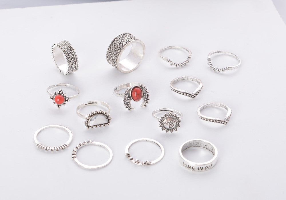 14 Piece Detailed Stone Sun Gypsy Midi Ring & Ring Set