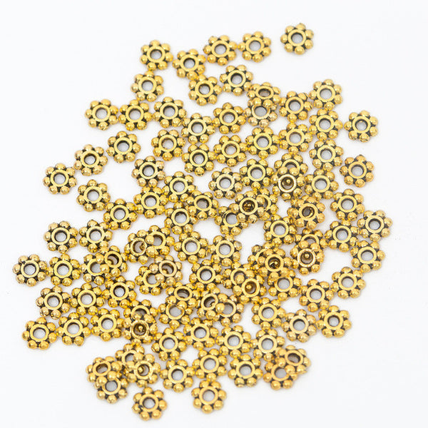 100 Pcs/Lot 6mm Flower Beads in Gold, Bronze, or Tibetan Silver