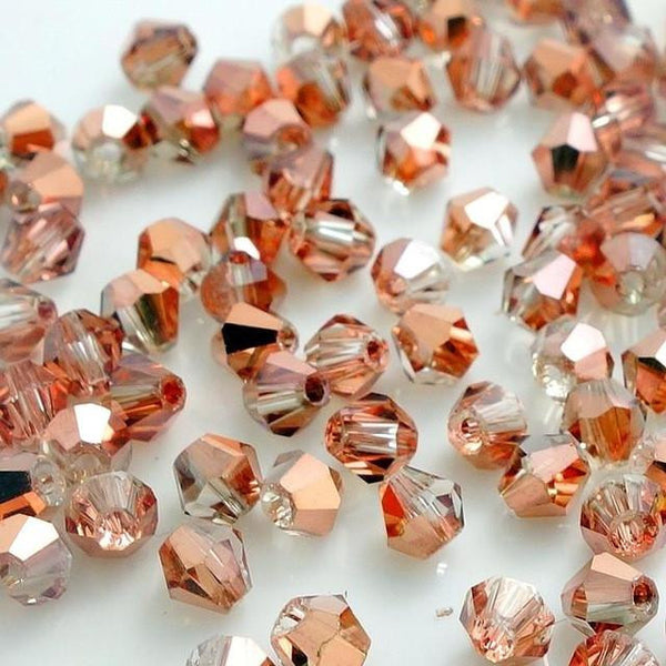 Crystal Glass Loose Spacer Beads in Red/Copper