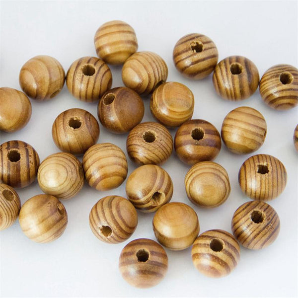 Round Pine Wooden Beads Wood Beads Loose Round Pine Wooden Stripe Beads