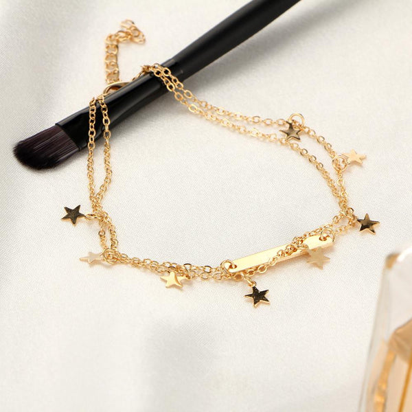 Double Layered Star & Bar Anklet in Gold or Silver
