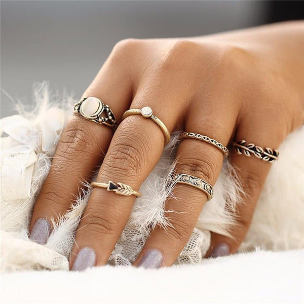 Royal Opal Stone Bohemian Midi Ring & Ring Set