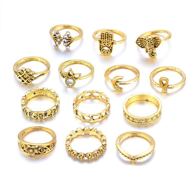 Vintage/Punk Bohemian Ring Set of 13 Rings - Silver or Gold