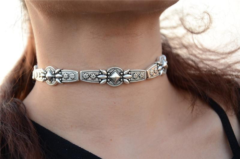 Various Selection of Silver Boho Chic Choker Necklaces