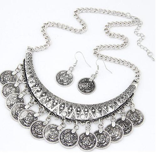 Festival Coin Fringe Collar-Style Chain Statement Necklace