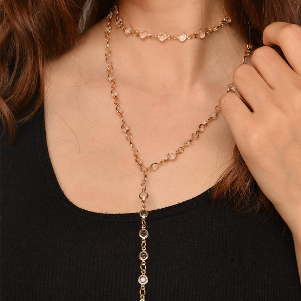 Long Chain Crystal Beaded Choker Necklace