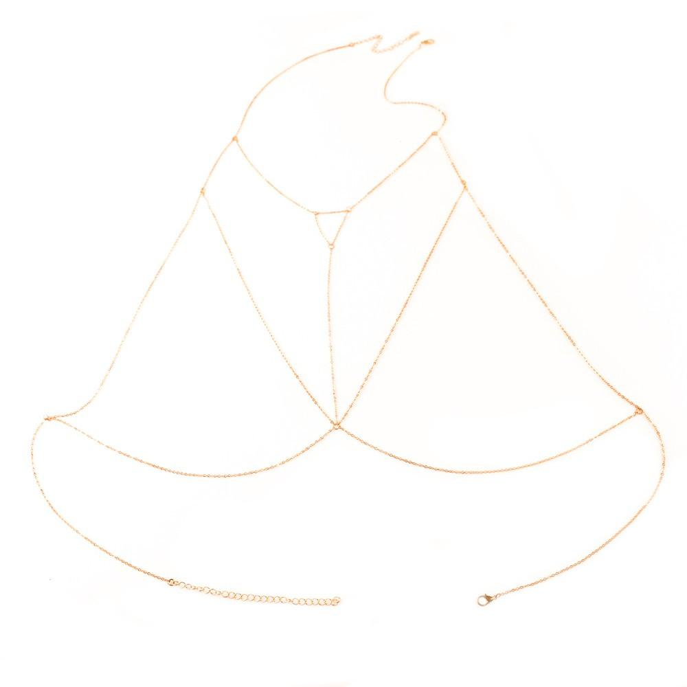 Silver Layered V Shape Body Chain Harness