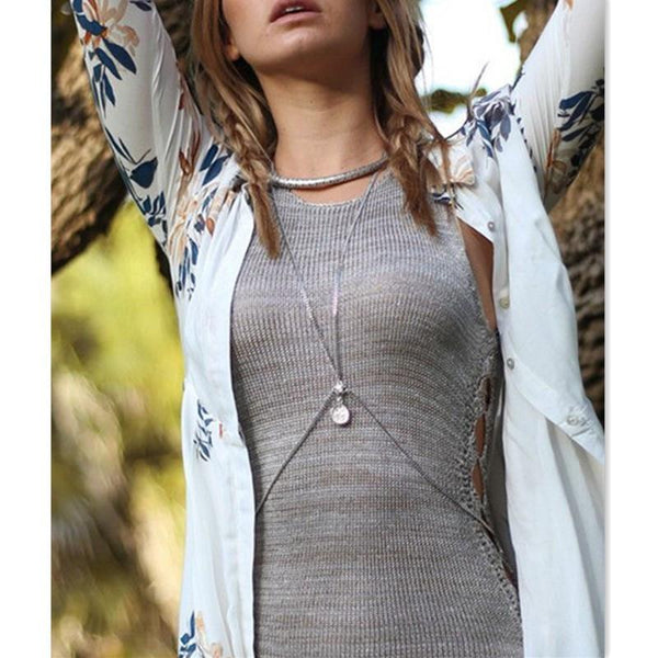 Summer Crossover Coin Pendant Harness Body Chain