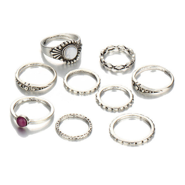 9 Piece Antique Silver Stone Midi Ring & Ring Set