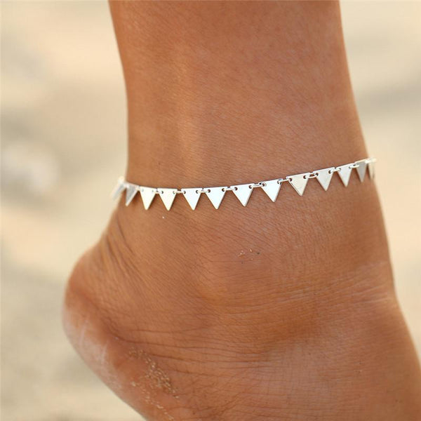 Charming Triangle Anklet in Gold or Silver