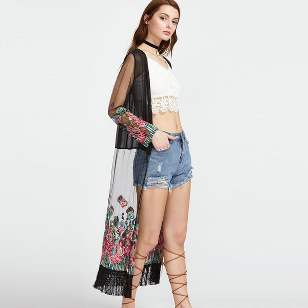 Festival Ready Chiffon Floral Embroidered Kimono in Black or White