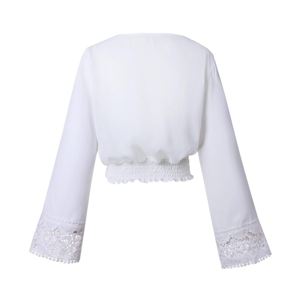 White Long Sleeved Bohemian Cropped Tunic Top