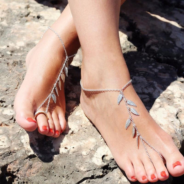 Silver Leaf Chain Anklet