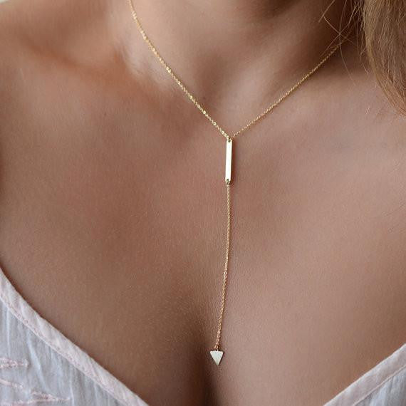 Tiny Triangle Tassel Chain Drop Down Necklace