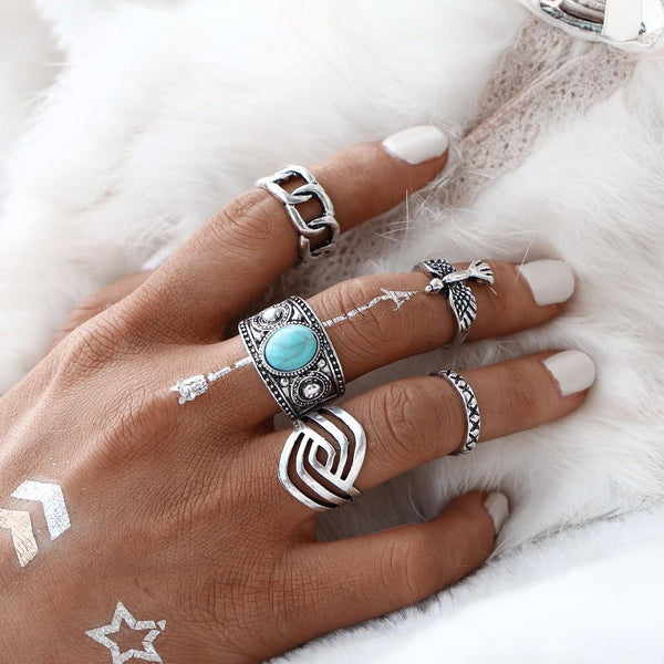 Turquoise Stone & Silver Statement Ring Set
