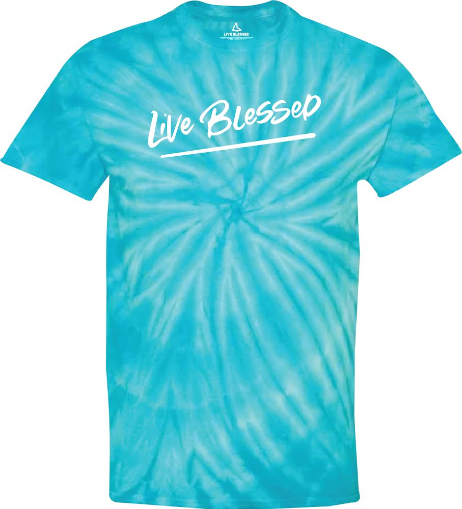 MEN'S LIGHT BLUE LIVE BLESSED TIE DYE TEE