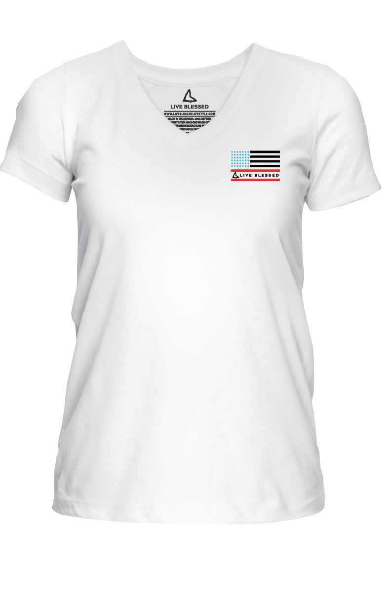 WOMEN'S STARS AND STRIPES FLAGS - WHITE V-NECK