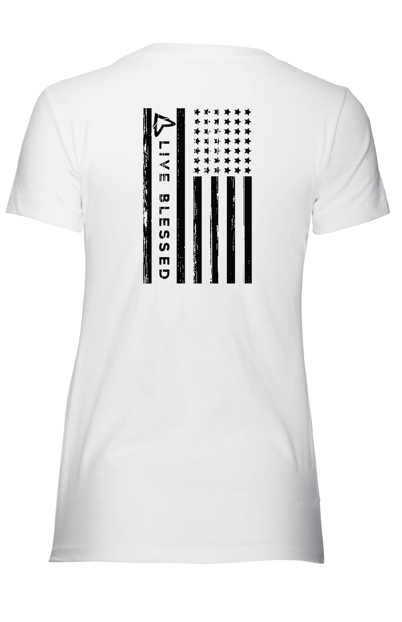 WOMEN'S LVBLSD FLAG - WHITE V-NECK