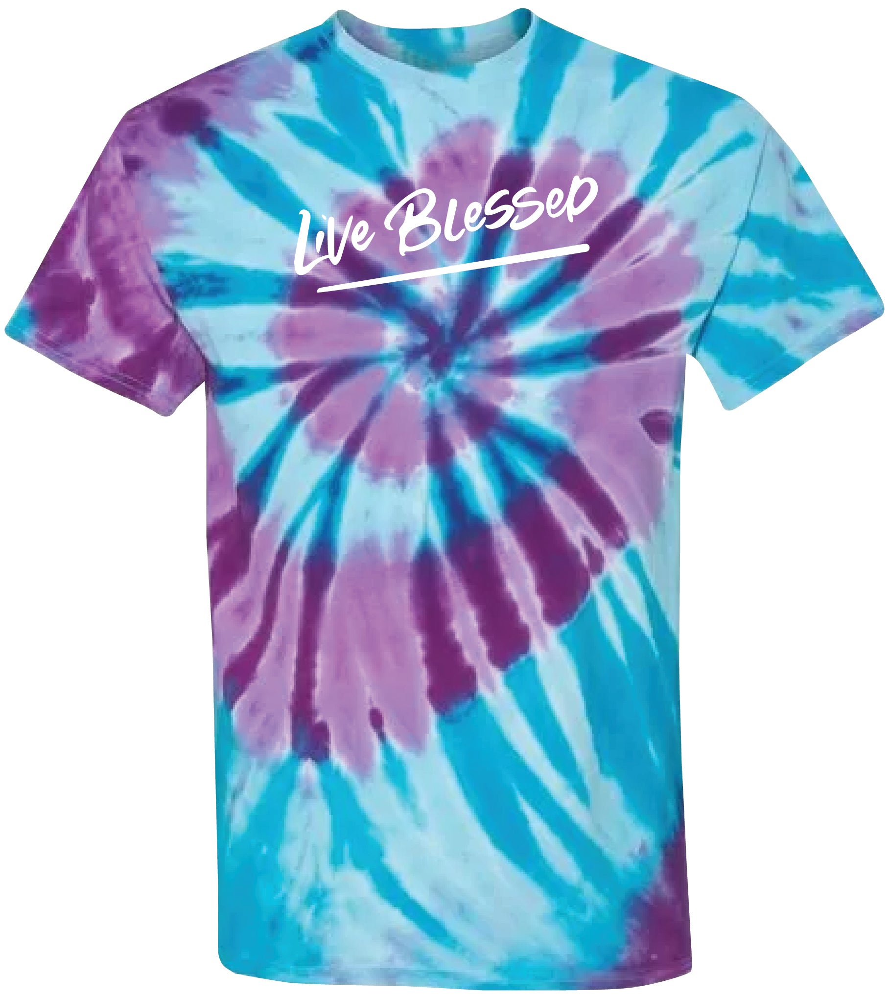 WOMEN'S LIGHT BLUE/PURPLE LIVE BLESSED TIE DYE TEE