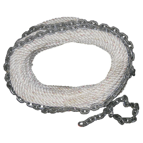 New England Ropes Premium 3-Strand White Nylon Anchor Rode With Chain