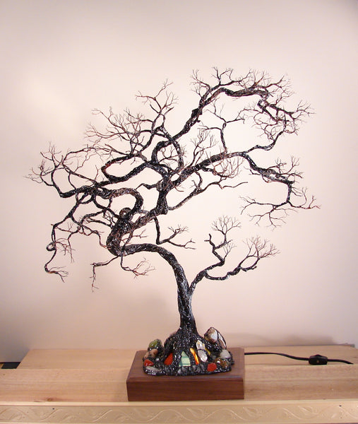 Japanese Tree rendition with minerals, original art