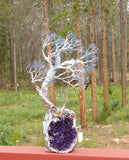 The Winds of Harmony sculpture, Uruguay Amethyst, Blue Kyanite, Citrine, Moss Agate, Carnelian, one of a kind original artwork