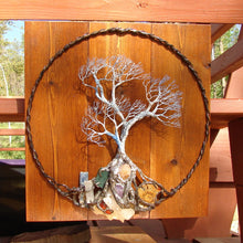"Wire metal Tree sculpture, Winds of Tranquility, Family of Three, wood, metal, gemstone wall hanging decor, 16"" original art"