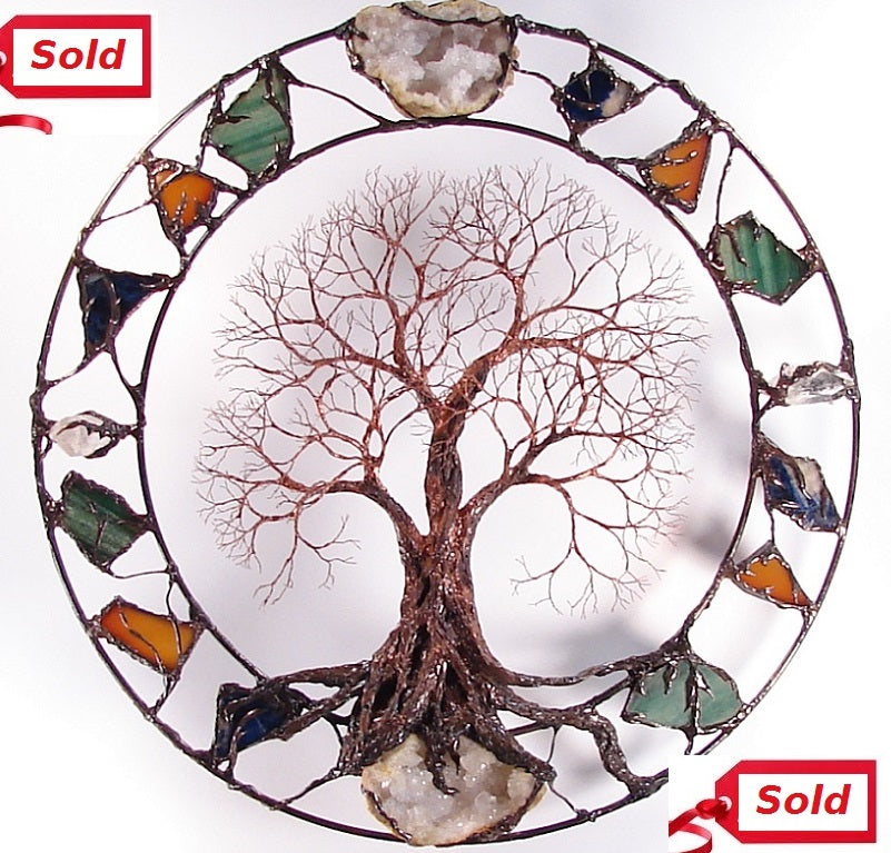 Metal tree wall art, Circle of Life Passage Tree Grove with Geodes, Agate, green Quartz, blue Sodalite