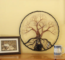 "Wire and metal Tree sculpture, Circle Of Life 16"", Grove of Peaceful Contentment, wall decor original art"