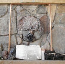A World of Peace, metal Grove Tree Sculpture with Amethyst Quartz Crystal cluster, wall decor original art