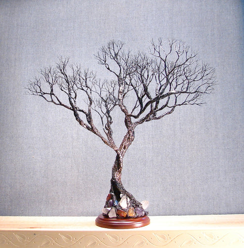 Wire metal Tree sculpture sculpture, Simply Divine , Wood base, crowsfeathers art