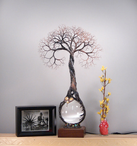 The Joyous Heart metal Tree sculpture, Selenite Sphere lamp, original art