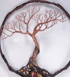 Bonsai Tree Of Life sculpture, gemstone wall art, Three Trees, unique handmade original art