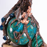 Wire and metal Tree sculpture, Spirit of Compassion, Chrysocolla sphere, Malachite, Azurite, Aspen Wood base, original art