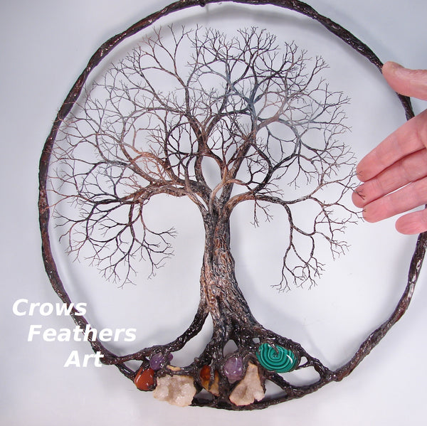 Ancient Grand Old Tree sculpture, Quartz Geode and gemstones, unique original wall art