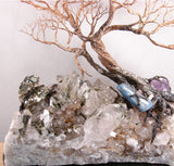 Essence of Joy sculpture, large specimen of Epidote in Quartz with golden Pyrite, Blue Kyanite, Amethyst, Tourmalated Quartz, one of a kind original artwork
