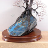 Wisdom of Labradorite Tree sculpture, with iridescent blue Labradorite stone from Madagascar