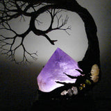 "Metal Tree of Life sculpture, Amethyst Quartz Crystal Gemstone Lamp, ""Different Perspective"", one of a kind original artwork"