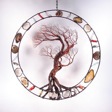 Circle of Life Grove Tree Wind sculpture, Go with the Flow, metal Tree sculpture wall or window art