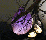 "Metal Soul Mate Tree sculpture, Amethyst Quartz Crystal Gemstone Lamp, ""Heart of the Soul Mates"", one of a kind original artwork"