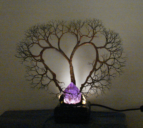 Metal Soul Mate Tree sculpture, Amethyst Quartz Crystal Gemstone Lamp,