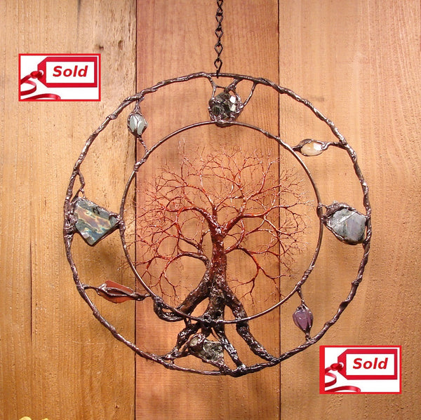 Wire metal tree wall or window art, Inspiring Grove Tree, Labradorite, Aquamarine plus