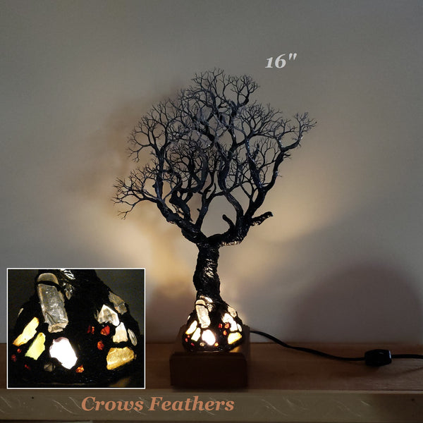 Moonlight Cottonwood Tree sculpture, Quartz accent lamp with Amber, Agate, Garnet, Amethyst, Tourmalated Quartz accent Lamp, one of a kind original artwork